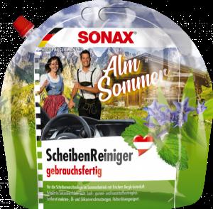 Produktpackshots Scheibenreiniger AlmSommer Kanister und Handbag